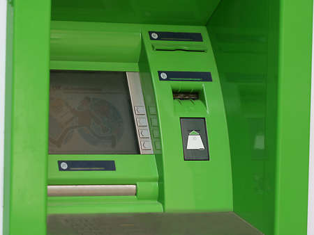 Modern indoor automatic teller machine at a bank (ATM) Stock Photo - 1090928