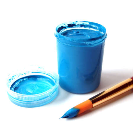 Brush and blue paint jar with gouache  Stock Photo - 1537846