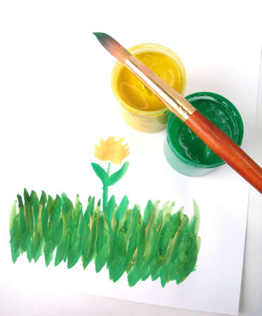 gouache: Picture of grass with yellow flower (Brush and paint jar with gouache)