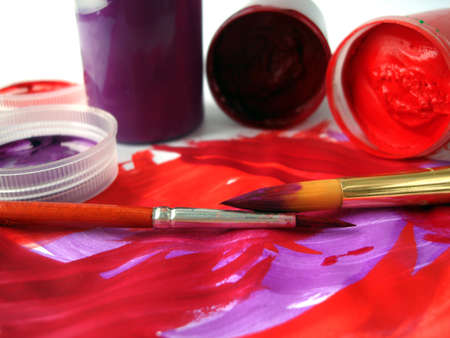 Brushes and red paint jar with gouache Stock Photo - 1557990