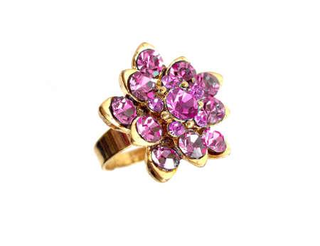 zircon: pink diamond ring on white background  Stock Photo