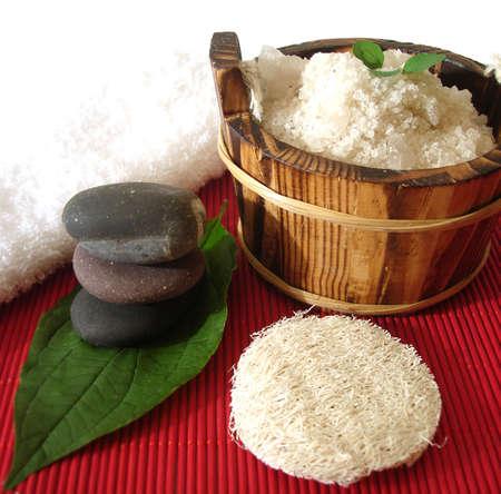 Spa essential (pyramid of stones and washtub with bath salt)  photo