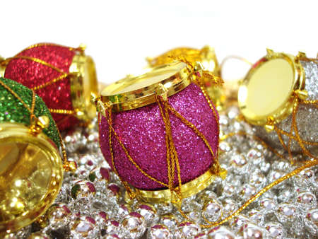 colored Christmas decoration drum over beautiful background Stock Photo - 1746764