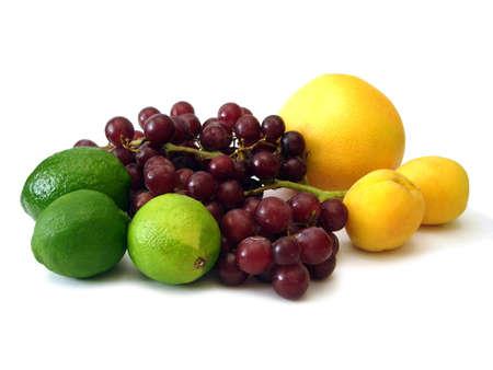 many fruits on white background  Stock Photo