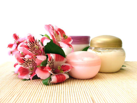 cosmetic moisturizing cream with flowers