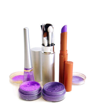 violet set for make-up (brushes, eyeshadows, rouge, nail polish and lipstick)  photo