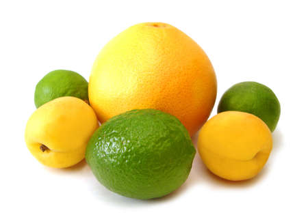 yellow lemons and green limes on white background  Stock Photo - 1827758