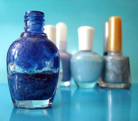 nail polish on blue background  Stock Photo - 1952800