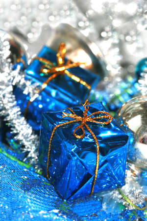blue Christmas decoration, box with handbell and balls  photo