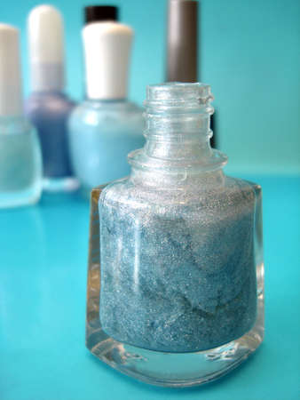 nail polish on blue background  Stock Photo - 1976325