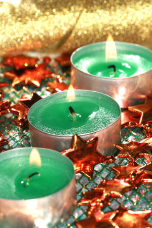 green candles with decoration stars  Stock Photo - 1976326
