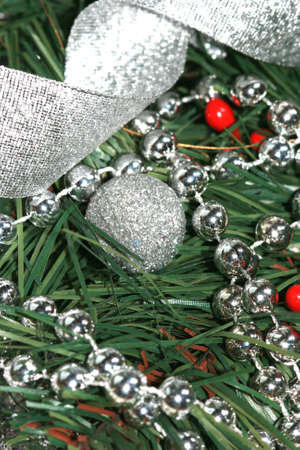 silver decoration ball on Christmas tree  Stock Photo - 2079740