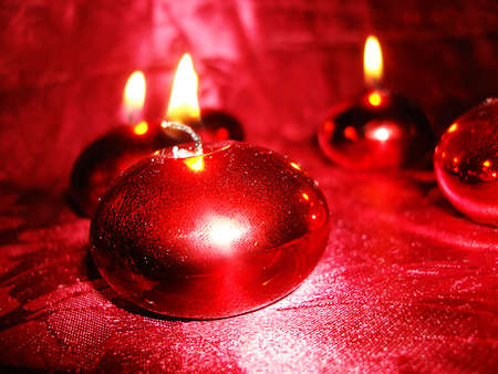 red burning candles on background  Stock Photo - 2085907
