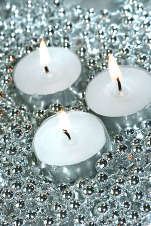 white candles with silver decoration balls Stock Photo - 2085910