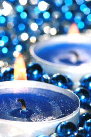 blue candles with decoration balls Stock Photo - 2113548