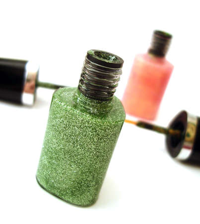 green nail polish or lipstick on white background  Stock Photo - 2191142