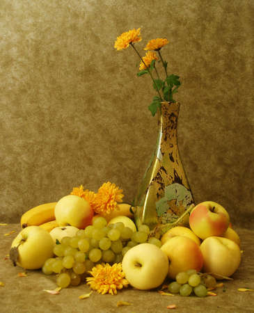 Harvest still-life: fruits and flowers  photo