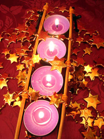 row of pink candles with stars Stock Photo - 2191179