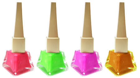 fangle: red, green, pink and orange nail polish on white background