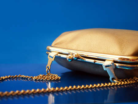 womanish: golden womanish handbag on blue background