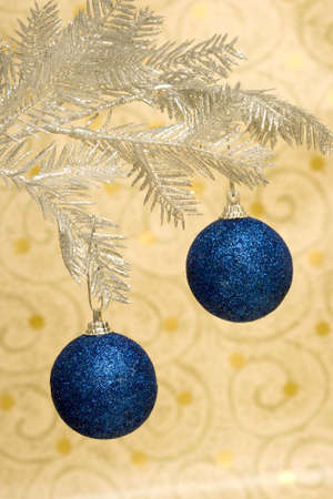 blue Christmas ball on golden background Stock Photo - 2207368