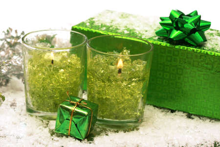 festive new-year candles and gift box with snow Stock Photo - 2207322