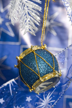 blue new-year drum and Christmas tree  Stock Photo - 2207348