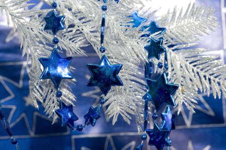 blue new-year stars and Christmas tree Stock Photo - 2207373