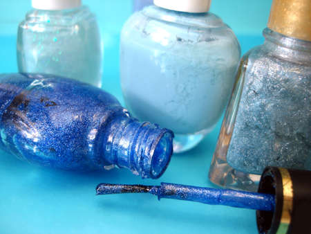 nail polish on blue background  Stock Photo - 2222323