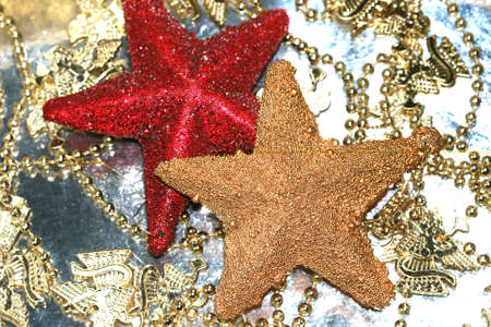 Red and golden Christmas decoration stars Stock Photo - 2222359