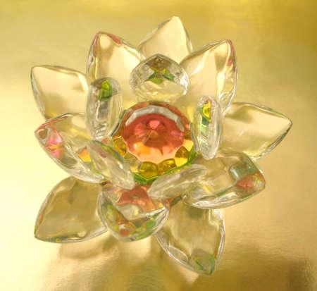 Diamond flower on golden background Stock Photo - 2222343