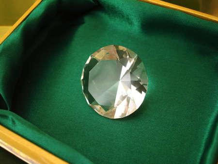 Beautiful diamond crystal on green box Stock Photo - 2235999