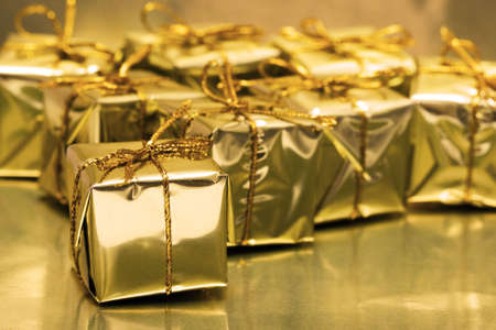 Stack of golden gift boxes  Stock Photo - 2235997
