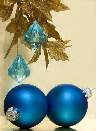 blue Christmas balls and golden tree Stock Photo - 2241430