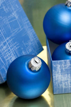 beautiful blue Christmas balls in gift box  photo