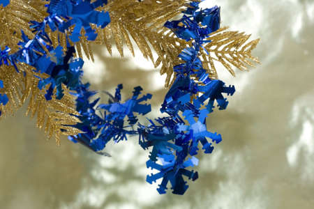 blue new-year snowflakes and Christmas tree Stock Photo - 2263706
