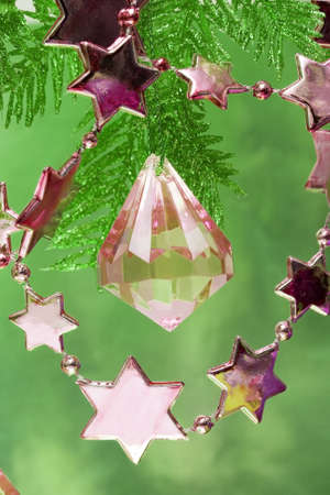 pink new-year stars and Christmas tree  Stock Photo - 2263713