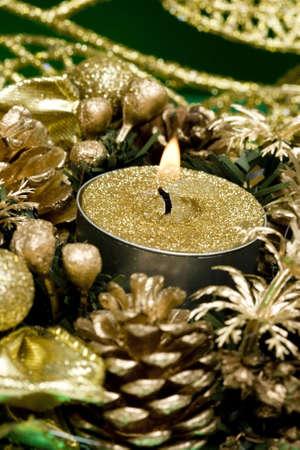 golden candle and celebration decoration  Stock Photo - 2263710