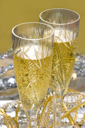 glasses with champagne on celebration table  photo