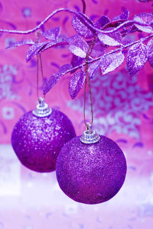 purple Christmas balls on beautiful tree  Stock Photo - 2384489