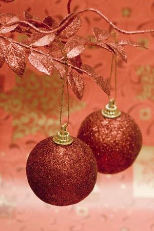 red Christmas balls on beautiful tree Stock Photo - 2420540