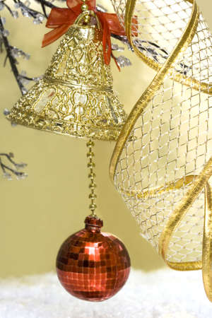 new-year handbell and Christmas tree  photo