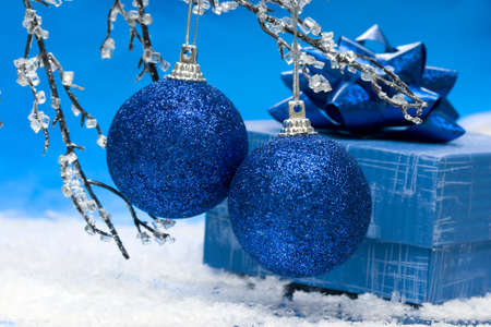 blue Christmas balls and gift box  Stock Photo - 2427959