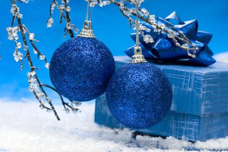 blue Christmas balls and gift box Stock Photo - 2427959