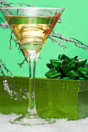 glass with champagne and gift box  photo