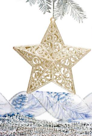 noel argent�: Star d�coration argent sur l'arbre de No�l Banque d'images