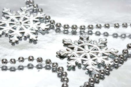 beautiful snowflake on silver background  photo