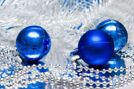 blue Christmas balls with silver tree  photo