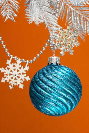 blue festive decoration on silver Christmas tree  photo