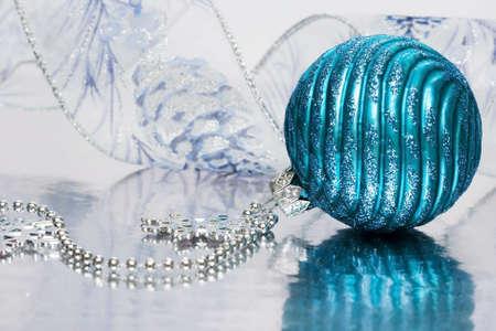 blue festive decoration on silver background  photo